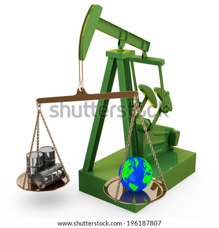 Oil rig pump as scales keeping balance of oil and the planet Earth, 3d illustration - stock photo