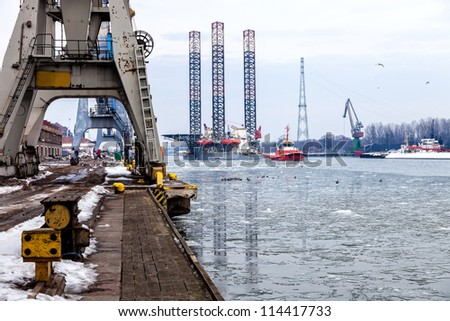 Oil rig towed to port of Gdansk, Poland. - stock photo