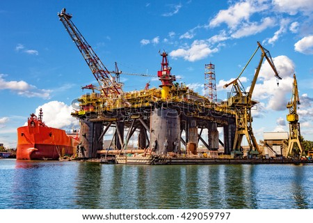 Oil rig under construction at the yard. - stock photo