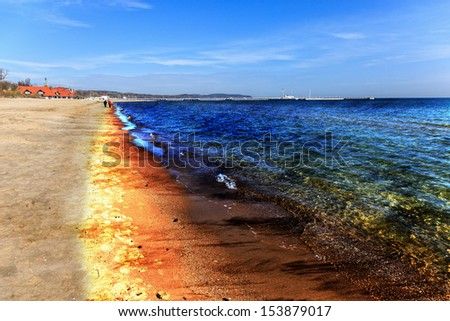 Oil Spill on Beach - Image is an artistic digital rendering. - stock photo