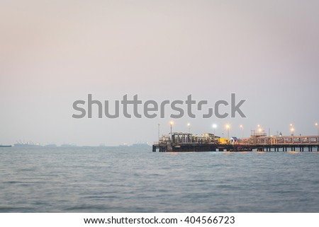 Oil station transportation in the sea - stock photo