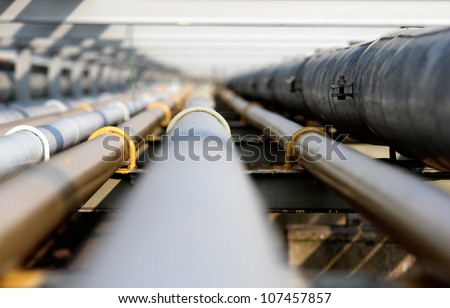 oil steel pipe in group - stock photo