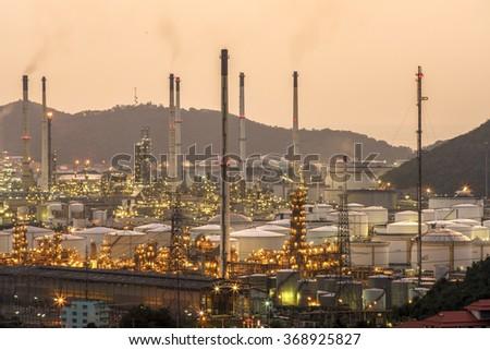 oil storage tank, aerial view - stock photo
