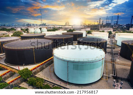 oil storage tank in petrochemical refinery industry plant in petroleum and heavy industrial plant with beautiful land scape scene - stock photo