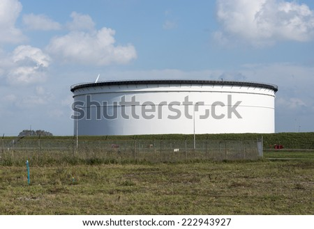 oil storage tank rotterdam europoort - stock photo