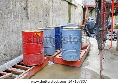 Oil tank at construction site - stock photo