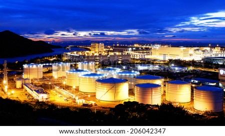 oil tank in power station , sunset  - stock photo