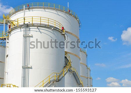 oil tank on oil refinery - stock photo