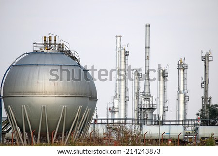 oil tank petrochemical plant  - stock photo