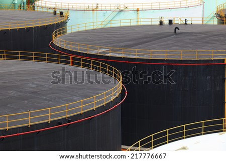 oil tank storage in oil refinery petrochemical industry estate - stock photo