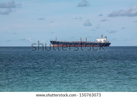 Oil Tanker Ship in the sea offshore of Thailand - stock photo