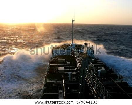 Oil Tanker ship sailing on a deep ocean - stock photo