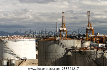 oil tanks on the port - stock photo