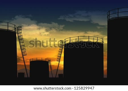 oil terminal , oil tank silhouette - stock photo