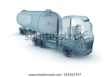 Oil truck with cargo container, wire model. - stock photo