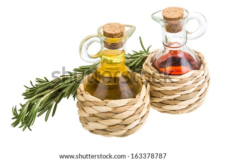 Oil, vinegar and rosemary isolated - stock photo