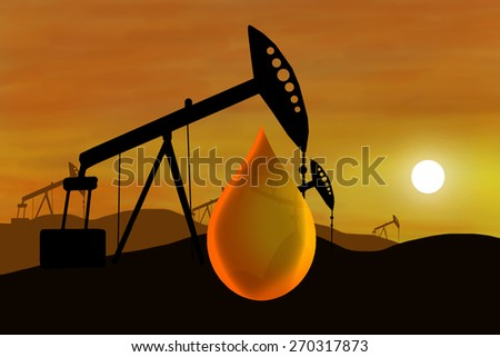 Oil well and oil drop - stock photo