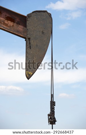 Oil well in Ayoluengo de la Lora, Burgo Province, Castilla Leon, Spain. - stock photo