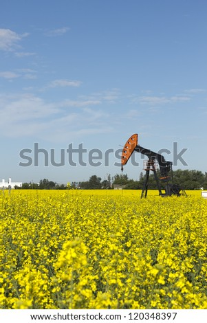 Oil Well in Canola - stock photo