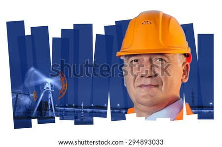 Oil worker in orange uniform and helmet on of collage background the pump jack. - stock photo