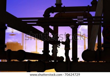 Oil worker on a background of the sky - stock photo