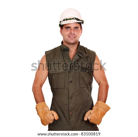 oil worker with helmet and gloves in dirty uniform - stock photo