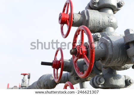 Oilfield pipeline switch in close-up  - stock photo