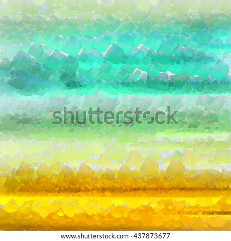 Oily Abstract landscape with the sea painted with a palette knife. Digital painting - stock photo