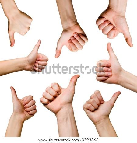 OK gestures on white background - stock photo
