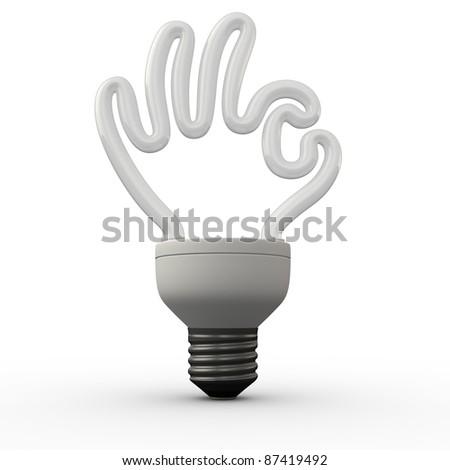 Ok hand energy saving fluorescent light bulb on white background - stock photo