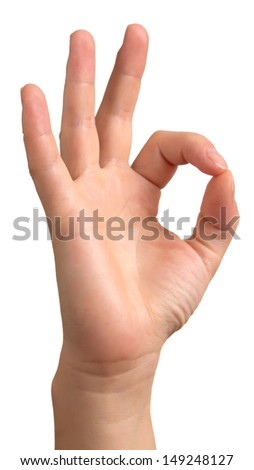 Ok hand, isolated on white background - stock photo