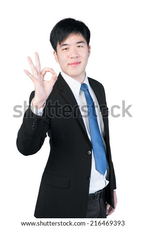 ok hand sign gesture from asian businessman isolate on white background with clipping path - stock photo