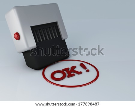 OK stamp - stock photo