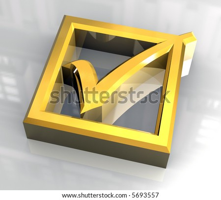 ok tick in gold - 3D - stock photo