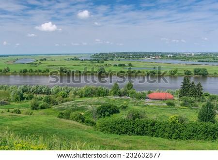 Oka River near Spassk-Ryazansky town.  Ryazan region, Central Russia - stock photo