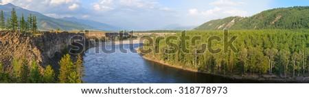 Oka River, Sayan mountains, Russia. Panorama. Summer landscape - stock photo