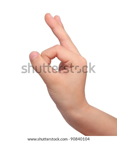 okay sign by boy on white - stock photo