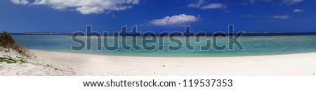 Okinawa beach, white sand, blue sky, clear water Okinawa japan - stock photo