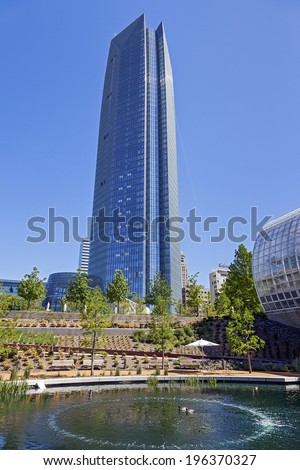 OKLAHOMA CITY, OKLAHOMA-APRIL 23, 2012: Devon Energy Center is a 52-story corporate skyscraper in downtown Oklahoma City, Oklahoma. It Construction began October 6, 2009 and completed in 2012. - stock photo