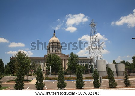 Oklahoma State Capitol Building - The state capitol building in Oklahoma City, with famous oil well on grounds.. - stock photo