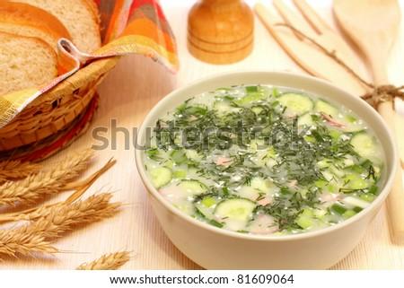 Okroshka soup - stock photo