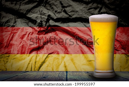 Oktoberfest ,Cold Beer with  grunge German flag - stock photo