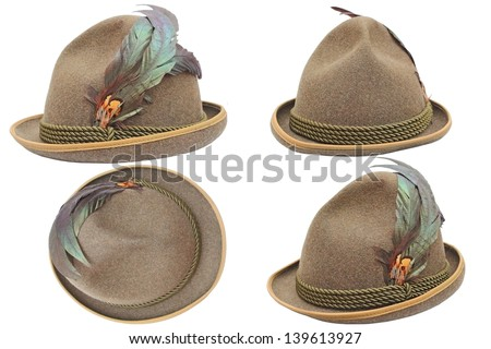 oktoberfest hunting decorated hat in four different views over white background - stock photo
