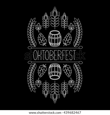 Oktoberfest traditional food and attributes on craft. Beer, craft brew house sketch doodle collection, hand drawn label elements. barrel, mug, wheat, hop plant, bottle, leaf.  - stock photo