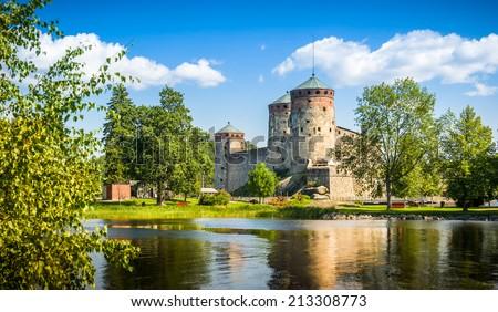 Olavinlinna fortress in Savonlinna center, Finland - stock photo