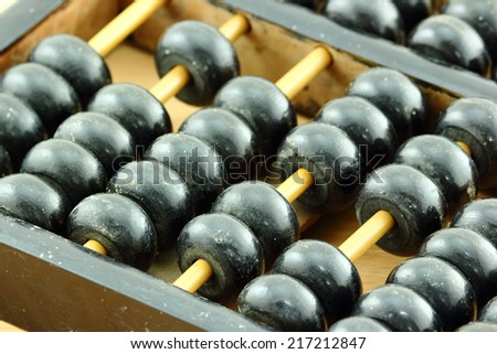 Old abacus calculation - stock photo