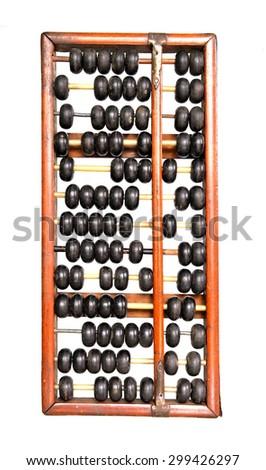 Old abacus isolated on white background - stock photo