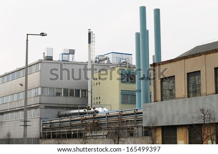 Old abandoned factory in Budapest - stock photo