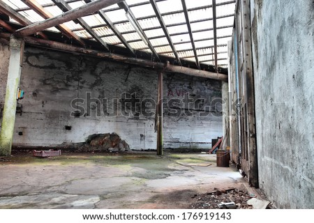 old abandoned factory interior in a fish-eye view - stock photo