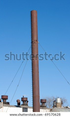 Old abandoned factory . pipe - stock photo